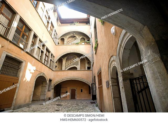 France, Isere, Grenoble, courtyard of the 17th century old Vaucanson Mansion house in Rue Chenoise