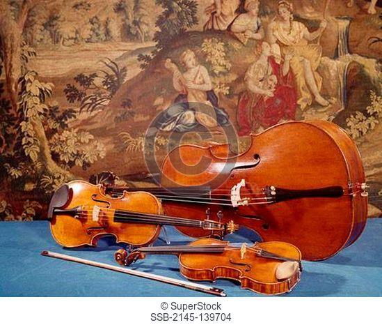Close-up of three Stradivariuses