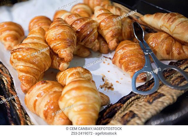 Croissants served for breakfast in a tray, Taksim, Marmara Region, Istanbul, Turkey, Europe