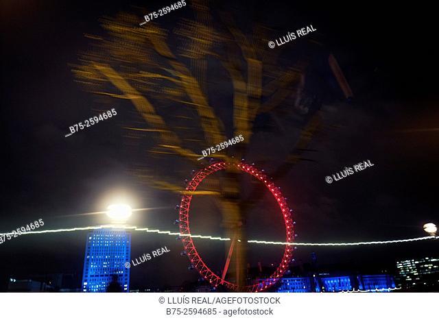 At night. The London Eye. The Weel, Southbank, London, England, UK, Europe