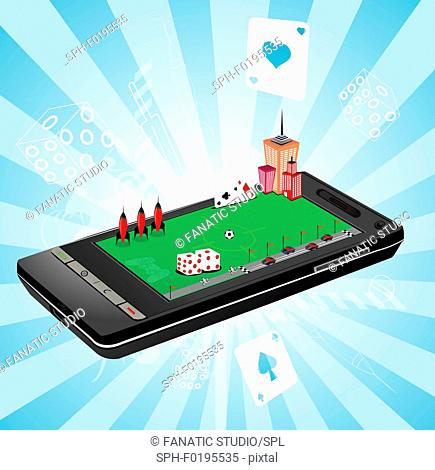 Illustration of the use of a mobile phone as a gaming device