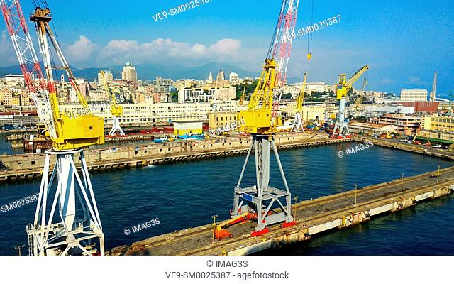 Aerial view of the port, Genoa, Italy