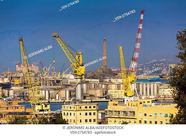The harbour and La Lanterna the Lighthouse of the city of Genoa. Mediterranean Sea. Liguria, Italy Europe