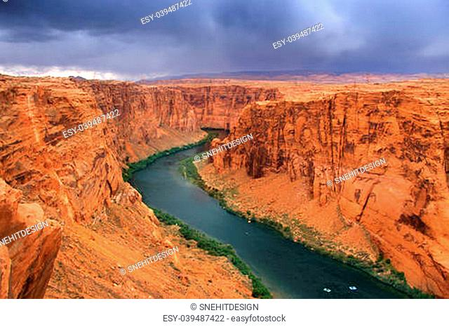 Beautiful Glen Canyon recreation area on a stormy day