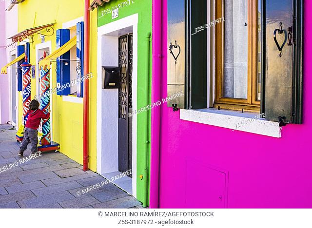 Colorful houses in Burano. Burano is an island in the Venetian Lagoon and is known for its brightly colored homes. Burano, Venice, Veneto, Italy, Europe