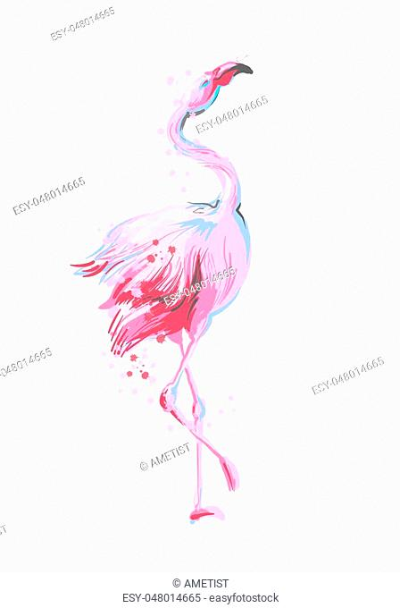 Beautiful dancing pink flamingo smiling isolated on white background with pink splash