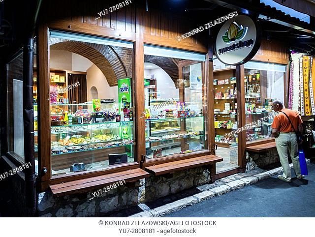Sweet shop on Bascarsija historical district in Sarajevo, Bosnia and Herzegovina