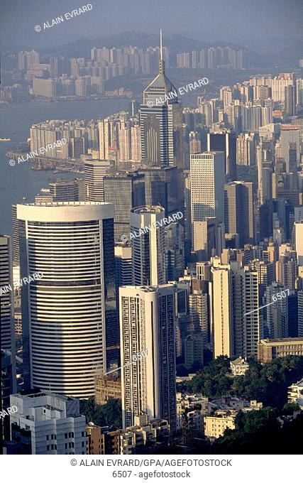 Central district and Victoria Harbor. Hong Kong