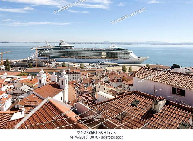 Royal cruise ship at harbour, Lisbon, Portugal