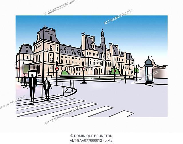Illlustration of the Hotel de Ville in Paris, France