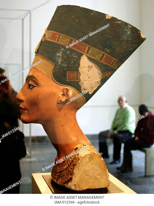 Nefertiti 14th century BC queen-consort of Pharaoh Akenaton. Portrait bust in the Egyptian Museum in the Altes Museum Berlin