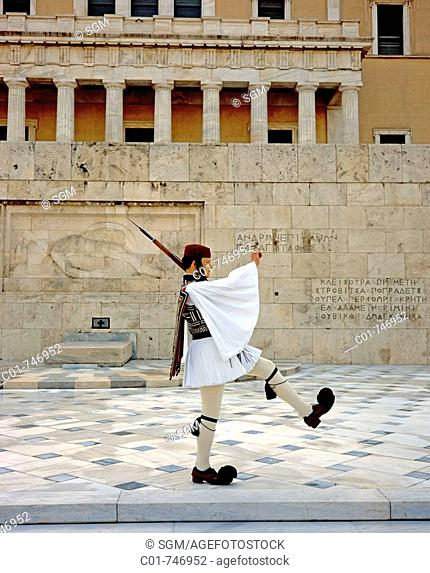 Evzone soldier guarding the Tomb of the Unknown Soldier outside 'Vouli' Greek Parliament, Athens, Greece