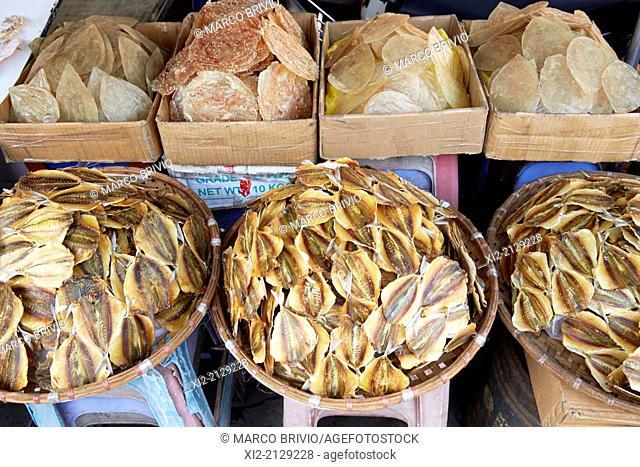 Dried fish at Dong Xuan Central Market. Hanoi, Vietnam