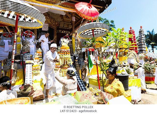 Offerings, Odalan temple festival, Sidemen, Karangasem, Bali, Indonesia