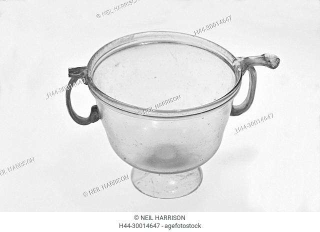 Ancient roman clear glass bowl with stand and ornate handles