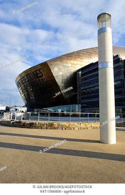 The Wales Millennium centre, Canolfan Mileniwm Cymru in Cardiff with pillar