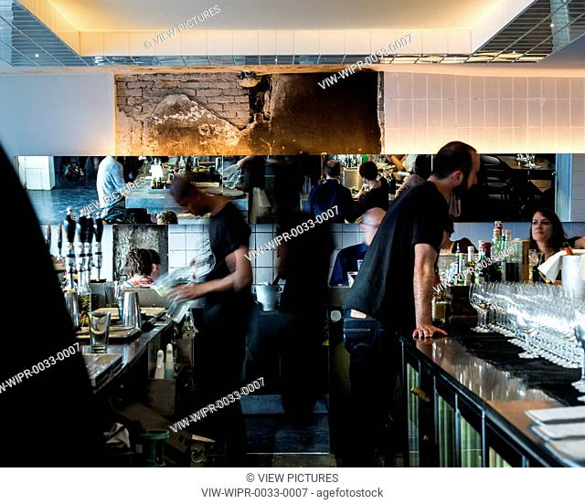 Seafood restaurant in the old meat packing district of Copenhagen. A modernistic fish bar that prides itself on cooking local su