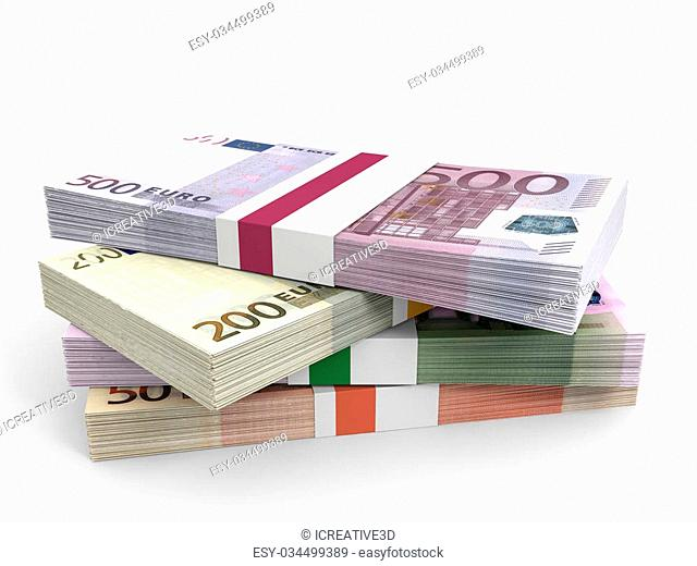 Money stacks. Different Euro bank notes. 3D illustration