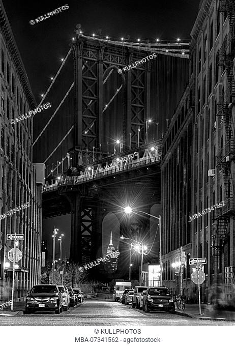 Manhattan Bridge in Brooklyn, New York City, USA