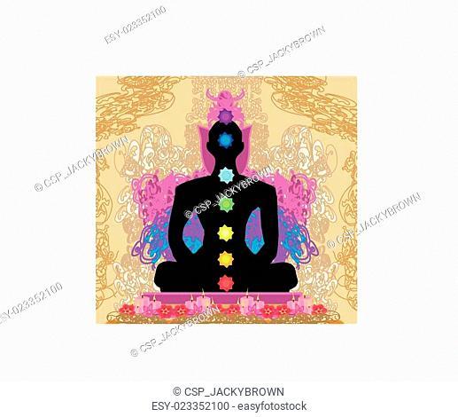 Yoga lotus pose. Padmasana with chakra points