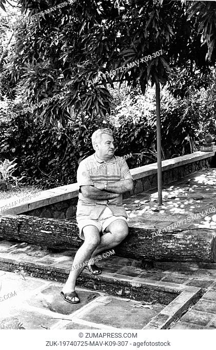 July 25, 1974 - Itabuna, Brazil - JORGE AMADO (1912-2001) was the best known Brazilian writers of the Modernist school. PICTURED: Jorge Amado relaxing in his...