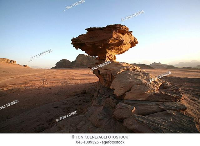 A rock formation around Wadi Rum  The Bedouins have lived for thousands of years in the desert around Wadi Rum