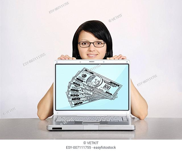 girl and notebook with drawing dollars on a white background