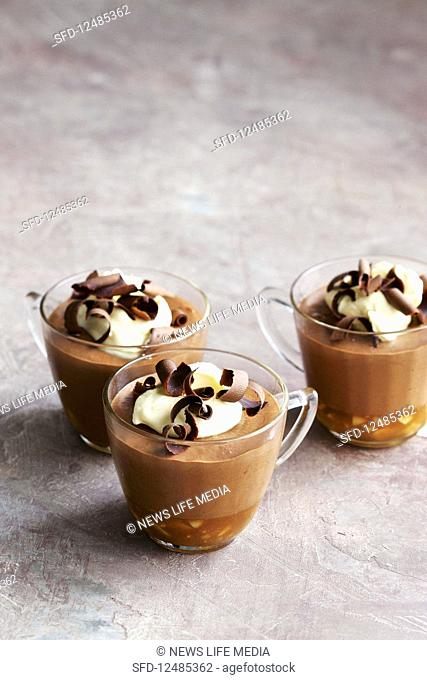 Chocolate mousse with salted peanut caramel