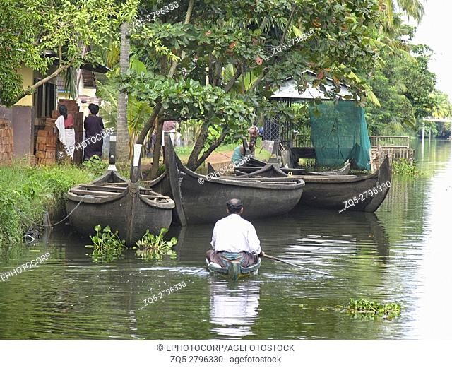 Landscape. Small boats for transport in backwaters of Kerala. India