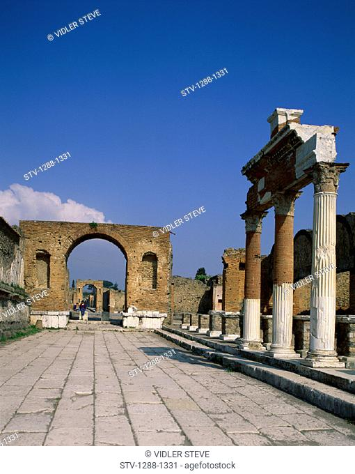 Arch, Architecture, Columns, Desolate, Holiday, Italy, Europe, Landmark, Pompeii, Ruins, Tourism, Travel, Vacation