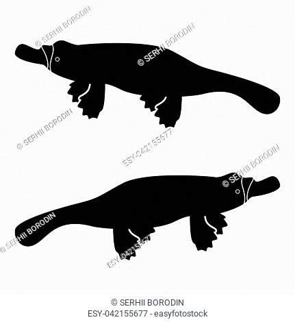 Platypus or duckbill icon black color vector illustration flat style simple image