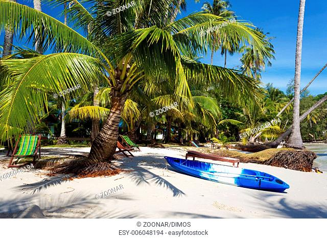 Canoe on the beach of the Koh Kood island, Thailan
