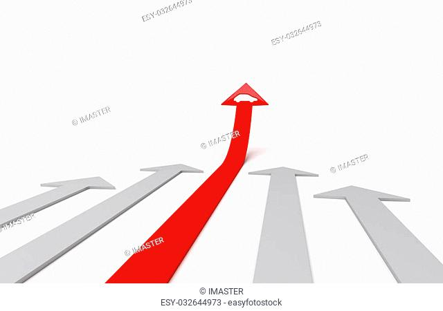 Red arrow with icon of automobile bends above gray arrows. 3D graphic image