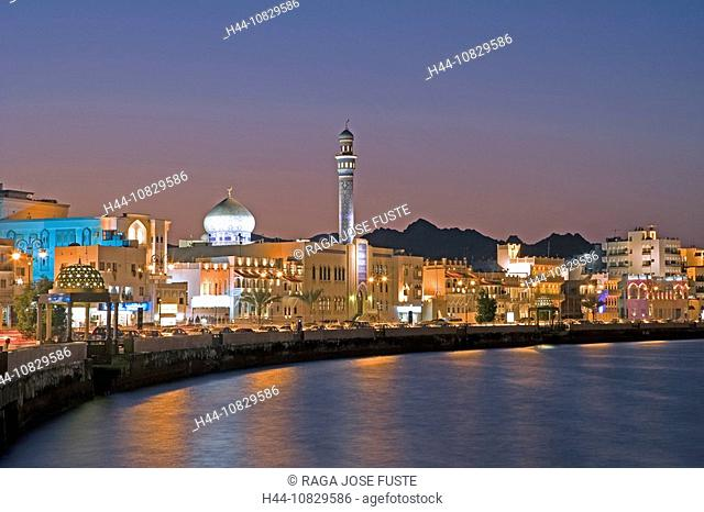 Oman, Arabia, East, Corniche, town, city, At night, night, Muttrah, courage yard, Maskat, Muscat, coast, sea