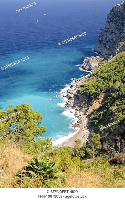 Blick auf die Platja des Coll Baix auf der Halbinsel von Alcudia, Mallorca, Spanien, Europa