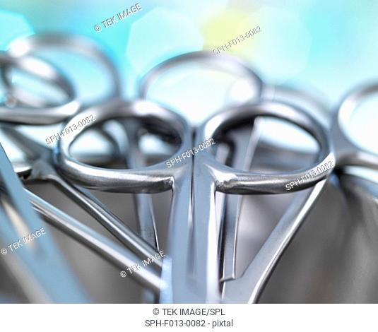 Surgical instruments in a kidney shaped tray in a hospital