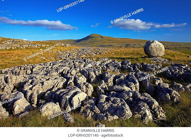 England, North Yorkshire, Ingleton. View of Ingleborough, the second highest mountain in the Yorkshire Dales and one of the Yorkshire Three Peaks