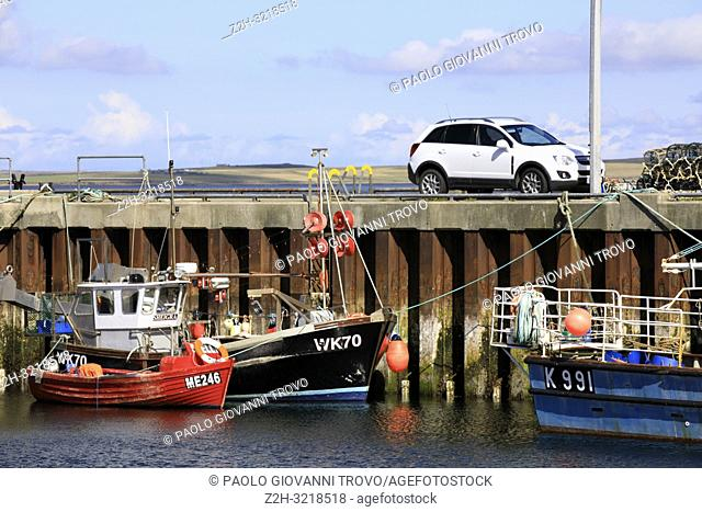 A fishing boat in the port, Orkney, Scotland, Highlands, United Kingdom