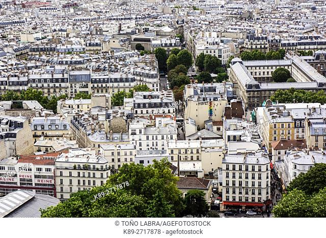 Paris aerialview from Montmarte. France