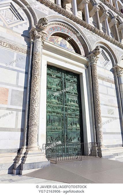 Door of the cathedral, Piazza dei Miracoli, Pisa, Tuscany, Italy