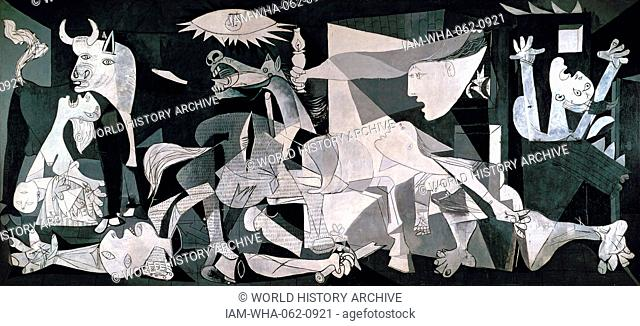 """Pablo Picasso's iconic painting, """"Guernica"""", 1937. Oil on Canvas. Painted to mark tribute to the horror of the air raid on the Basque town of Guernica"""