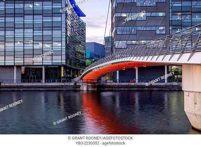 The Media City Footbridge and Media City Uk, Salford Quays, Manchester, England