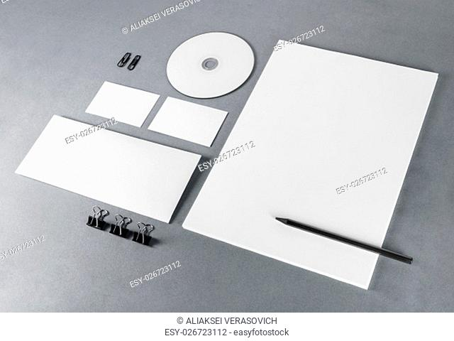 Photo of blank stationery set on gray background. Template for branding identity. For design presentations and portfolios