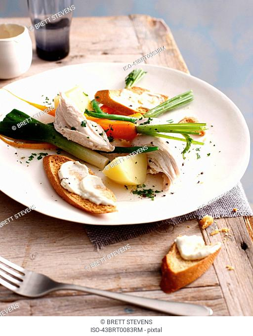 Plate of chicken, vegetables and bread