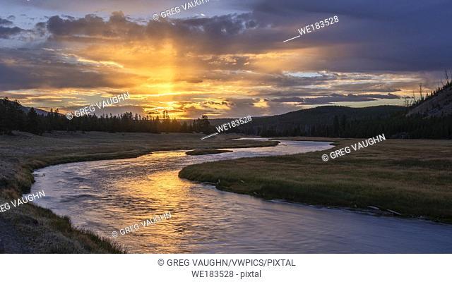 Madison River sunrise; Yellowstone National Park