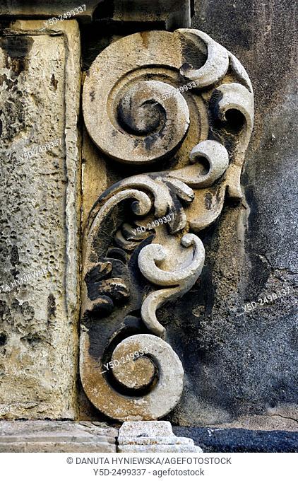 Europe, Italy, Sicily, Catania, old town, Via Crociferi, entrance to Ex-Collegio dei Gesuiti - Jesuit College, detail