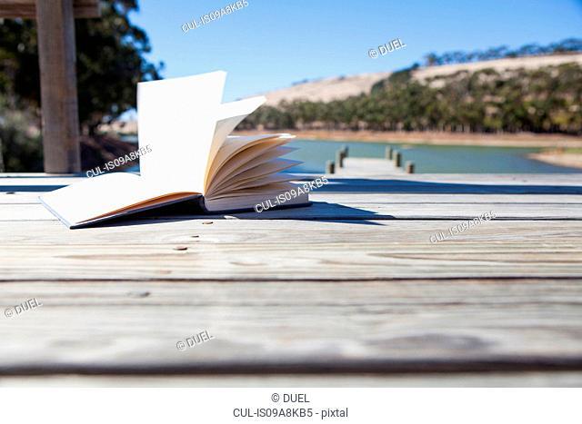 Open book on pier