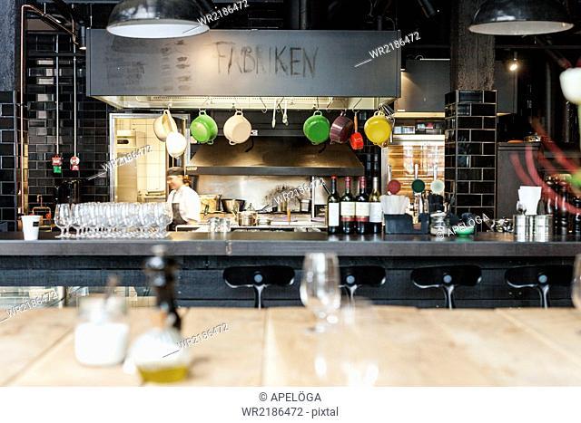Interior of restaurant with kitchen