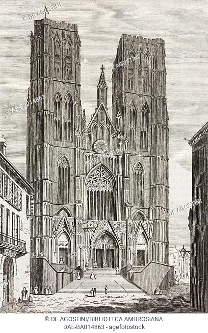 Facade of the Cathedral of St Michael and St Gudula, Brussels, Belgium, engraving from L'album, giornale letterario e di belle arti, August 25, 1838, Year 5