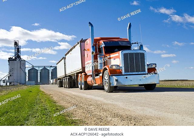a farm truck leaving an inland terminal after unloading crop, near Winnipeg, Manitoba, Canada